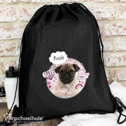 Rachael Hale Doodle Pug Personalised Drawstring Swim & Kit Bag